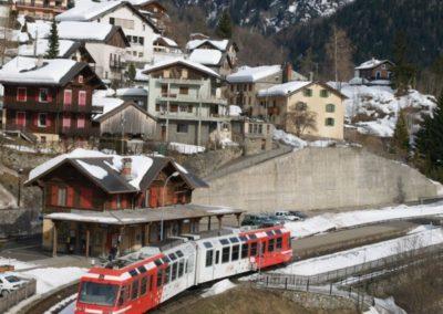 Le TMR en gare de Finhaut.